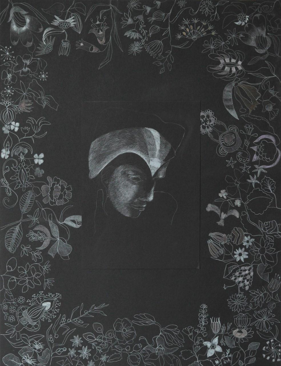 Buntstift auf schwarzem Karton, 65x50 cm