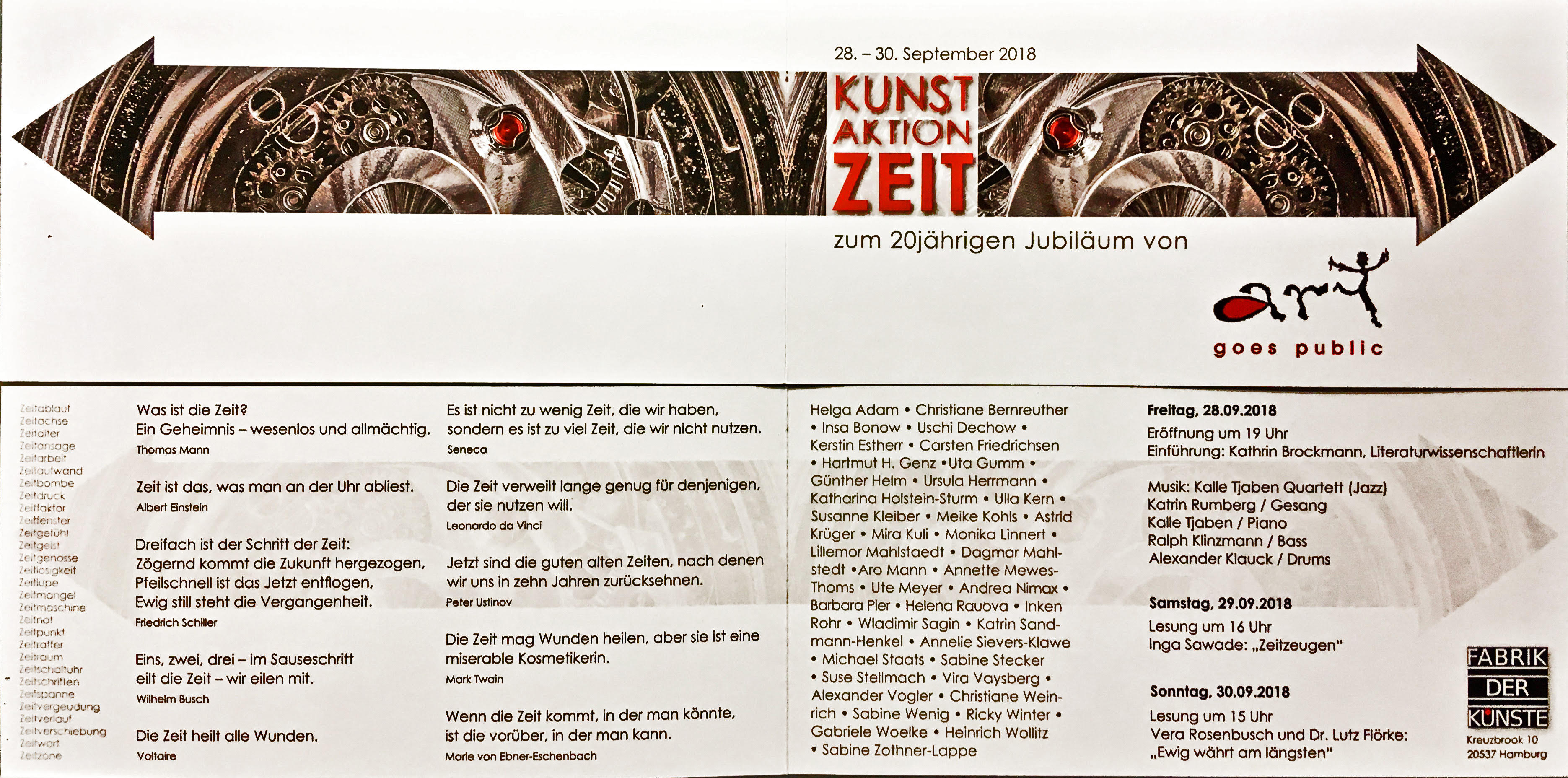 Kunst Aktion Zeit – 28.-30 September 2018